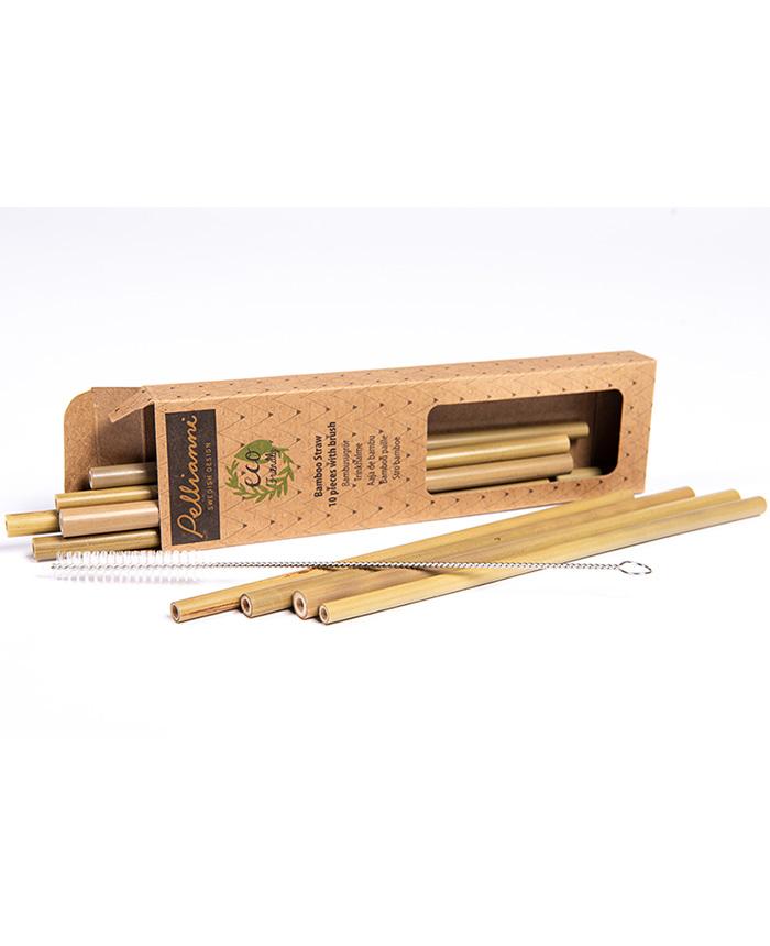 10er Set Bambus Strohhalme mit Reinigungsbürste