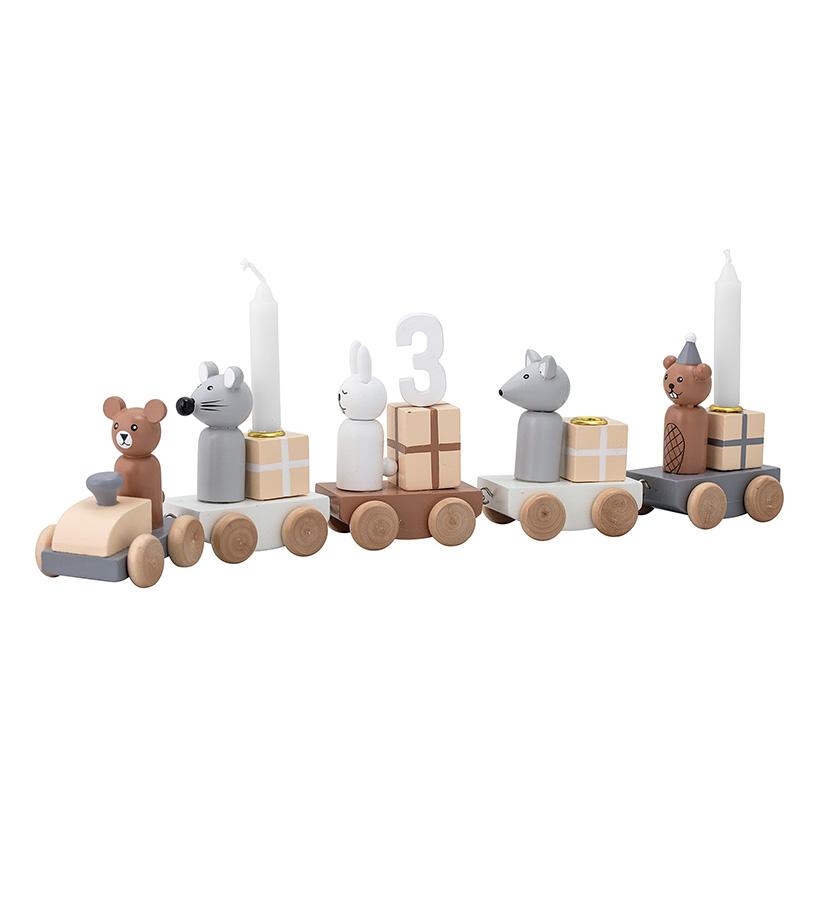 Holz Deko Geburtstagszug inkl. Kerzenhalter