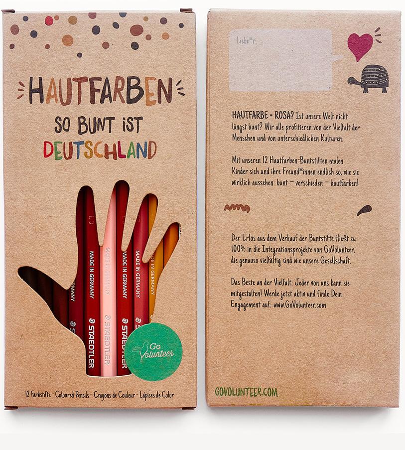 """12-tlg. Farbstifte Set """"Hautfarben - So bunt ist Deutschland"""""""