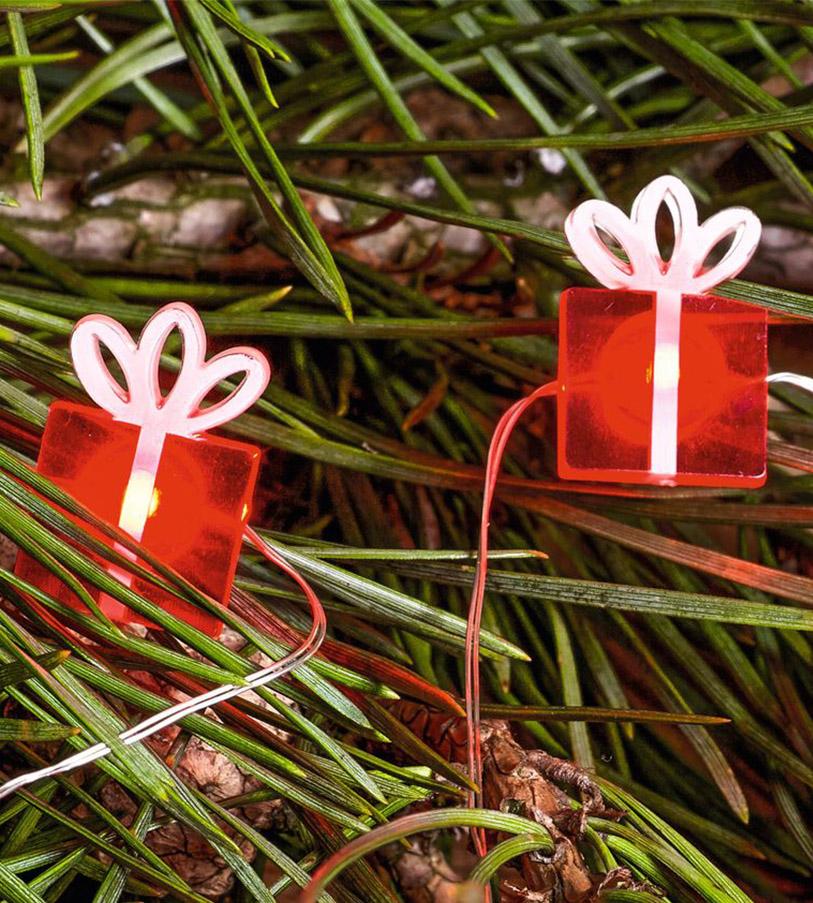 """Draht Lichterkette """"Geschenke"""", 20 LEDs, batteriebetrieben, inkl. Timer"""